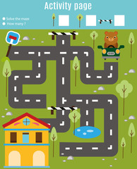 Activity page for kids. Educational game. Maze and find objects theme. Help bear find home. For preschool years children