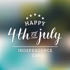 Vector Fourth of July hand lettering inscription for greeting card etc. Happy Independence Day calligraphic background.