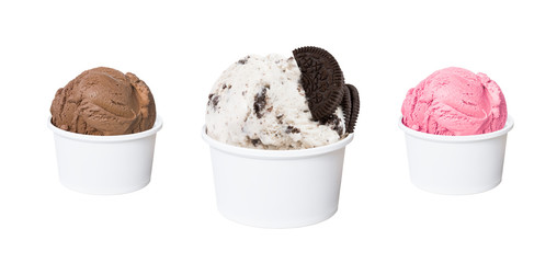 Ice cream scoops in white cups of chocolate, cookies and cream, and strawberry flavours isolated on white background (clipping path included)