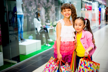Kids shopping in mall