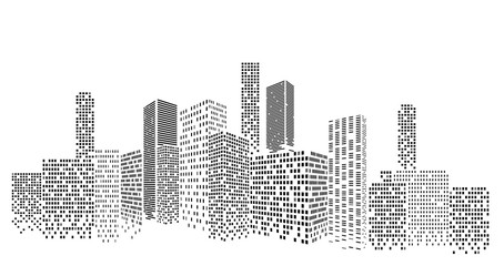 Modern cityscape vector illustration. City buildings perspective Fotomurales