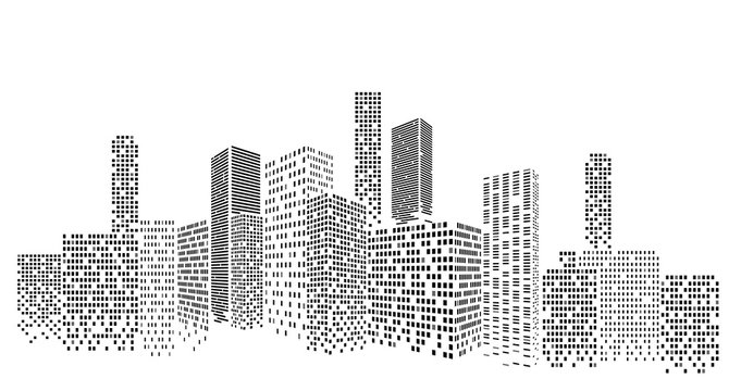Modern cityscape vector illustration. City buildings perspective