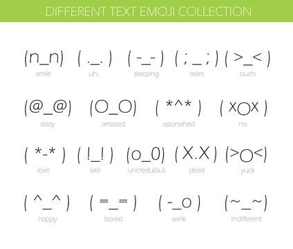 Set of japan style text Emoji Isolated on white. Vector illustration