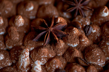 texture of the tops of the tiramisu cake, hats cream sprinkled with cocoa and decorated with star anise