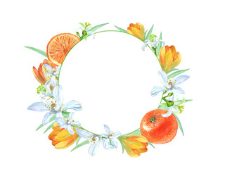 round frame with tangerines and flowers
