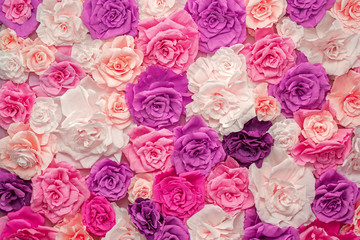 Beautiful background of multi-colored paper roses