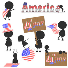 Black man character many acting with United Stated of America (USA) flag for using about 4th JULY Independence Day. vector. illustration. graphic design. Fourth of July. Cartoon.