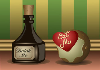 A little bottle and a cookie with labels to eat a to drink. Vector Illustration