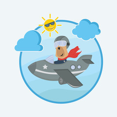 a dog pilot plane in the sky , animal cartoon vector illustration