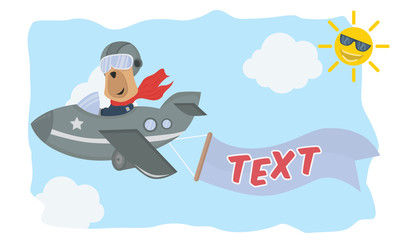 a dog pilot plane in the sky with text banner, animal cartoon vector illustration