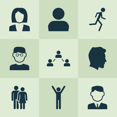 Person Icons Set. Collection Of Beloveds, Running, Businesswoman And Other Elements. Also Includes Symbols Such As Man, Network, Scientist.
