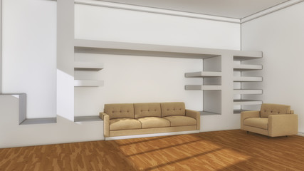 3d render. Salon decorated interior design