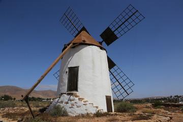 Aluminium Prints Mills Un moulin à vent typique de l'île canarienne de Fuerteventura