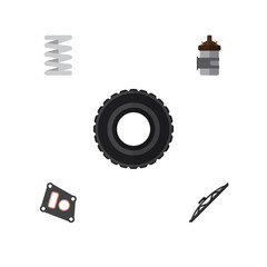 Flat Component Set Of Windshield, Absorber, Wheel And Other Vector Objects. Also Includes Tire, Spring, Wiper Elements.