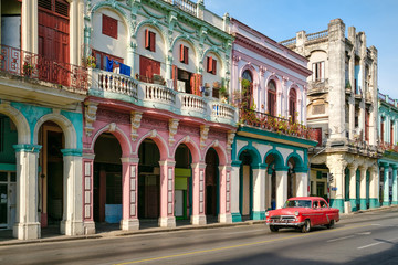 Urban scene in a colorful street in Old Havana