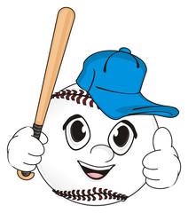 Baseball, Ball, bat, game, sport, cartoon, object, face, emotion, hands, gesture, class, cap, hold, bat,