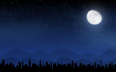 Skyline and deep night sky
