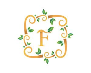 Elegant Floral F Letter With Gold Branch Logo