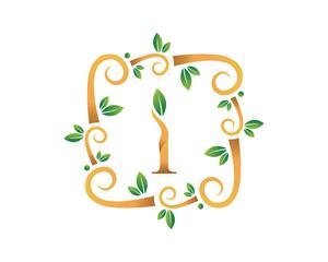 Elegant Floral I Letter With Gold Branch Logo