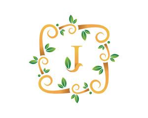 Elegant Floral J Letter With Gold Branch Logo