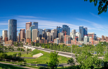 Calgary's skyline on a beautiful sunny day.
