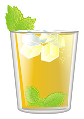 Mint, julep, yellow, alcohol, glass, cocktail, cartoon, summer, cold, color, mint julep, ice