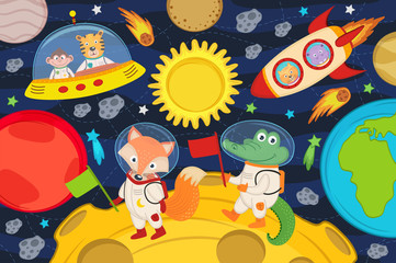 animals on moon in rocket and spacecraft - vector illustration, eps