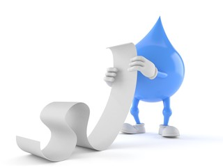 Water drop character reading long list