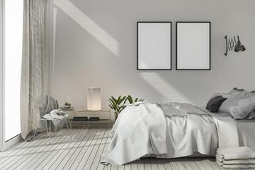 3d rendering mock up scandinavian bedroom with white tone wood