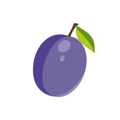 Plum isolated icon. Sticker or decoration for menu, book and more. Vector