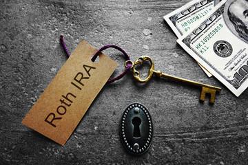 Roth IRA Key tag and cash