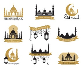 Set of emblems for islamic holy holiday Ramadan and other. Arabic traditions. Eid Mubarak greeting.