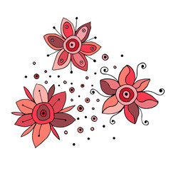 Set of vector hand drawn childish flowers Cute childlike Doodle, sketch, cartoon style. Line drawing. Graphic illustration