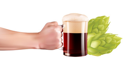 Hand Holding A Glass Of Cold Beer With Full Foam. Realistic hand with beer on white background.