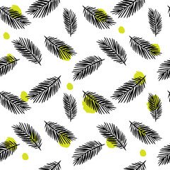Seamless pattern with leaves in hipster style. Background for your design wallpapers, pattern fills, web page, surface textures