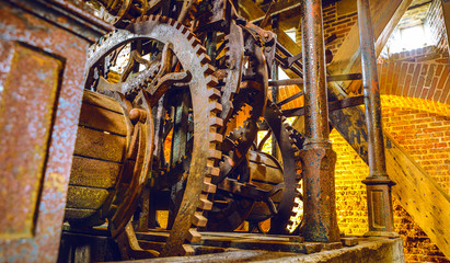 AMSTERDAM, NETHERLANDS - MAY 24, 2017:  Ancient iron mechanism for triggering bells in the tower. May 24, 2017 in Amsterdam - Netherlands.