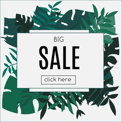 Sale Tropic banner. Design template. Tropical leaves frame with blank space paper. Advertisement, flyer, background