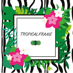 Tropic banner. Design template. Tropical frame. Exotic leaves and flowers frame with blank space paper and zebra stripes background. Advertisement, flyer, background