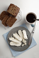 Rye bread, cheese and coffee