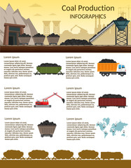 Coal mining industry and transportation infographics elements isolated vector technics building of set