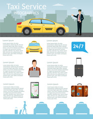 Taxi driver Call with smartphone service background the city flat style illustration