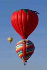 Hot Air Balloons Stacked in Mid Air