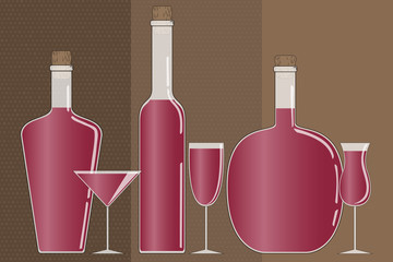 Vector illustration. The set of three bottles of different shapes and three glasses of different shapes.