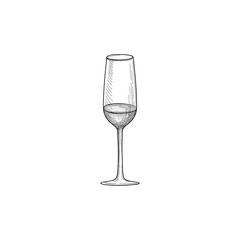 Half full wine glass isolated. Engraving of wineglass. Glass icon. Drink set