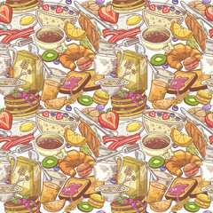 Hand Drawn Breakfast Seamless Pattern with Bakery, Fruits and Milk. Healthy Food Background. Vector illustration