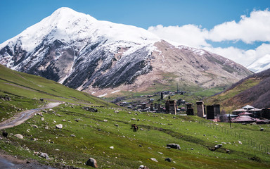 Wall Mural - Ushguli on the background of glacier