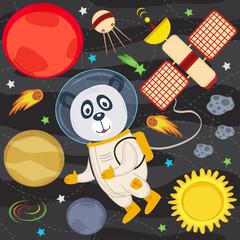 panda in space - vector illustration, eps