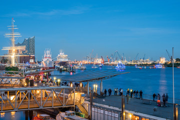 Hamburg - Harbour - Panorama at night