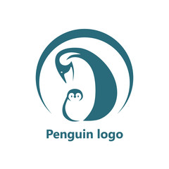 Abstract penguin logo. Vector logo design template.