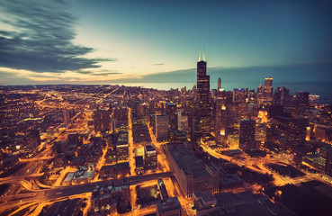 Chicago Downtown skyline aerial view at dusk, United States